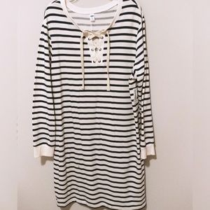 Lace Up Sweat Shirt Dress XXL